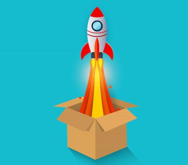 Lancement de la navette spatiale de la boîte brune vont vers le ciel