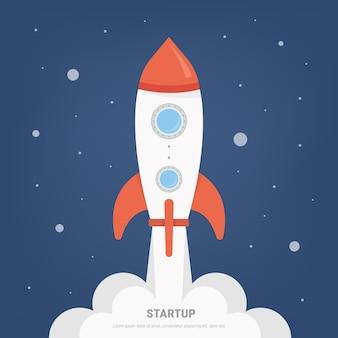 Lancement de projet de lancement de fusée concept dans un style design plat.