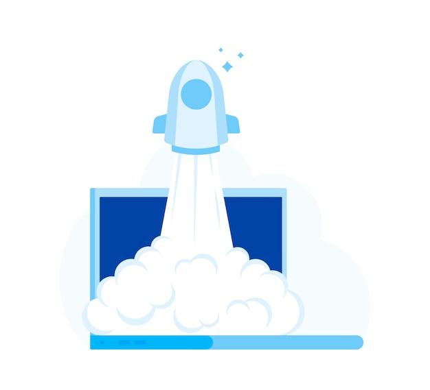 Lancement réussi de la startup. rocket start à l'air à partir du moniteur d'ordinateur portable.
