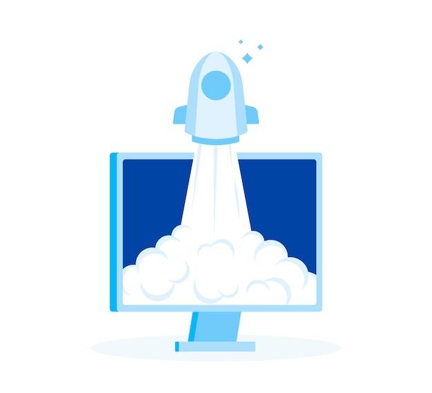 Lancement réussi de la startup. rocket start à l'air à partir d'un écran d'ordinateur.
