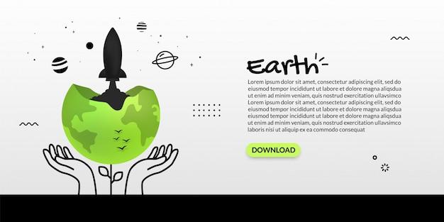 Lancement de vaisseau spatial de la terre sur fond blanc, concept de démarrage d'entreprise mondiale