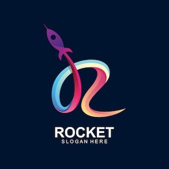 Lancement de vecteur de conception de logo de fusée