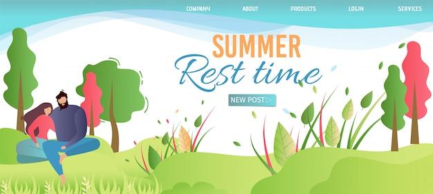 Landing page advertising temps de repos estival sur la nature