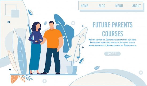 Landing page annonçant les futurs cours pour parents