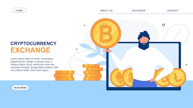 Landing page annoncer une application cryptocurrency exchange