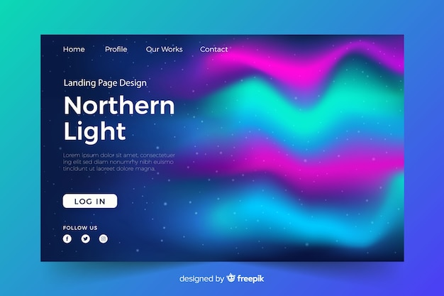 Landing page avec des aurores boréales colorées