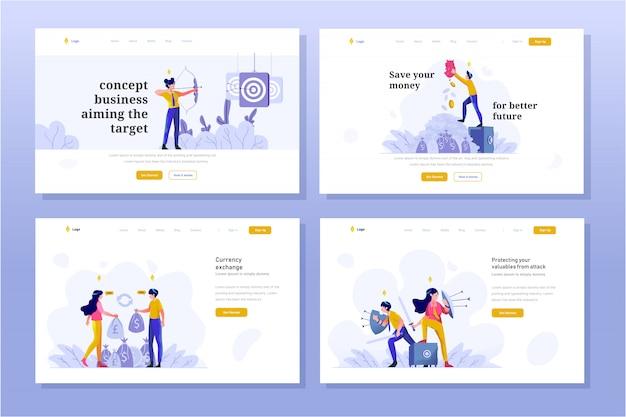 Landing page business and finance illustration style de design dégradé plat, objectifs cibles, économiser de l'argent, échanger du dollar en euro, protection du bouclier