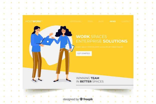 Landing page avec des collègues au design plat