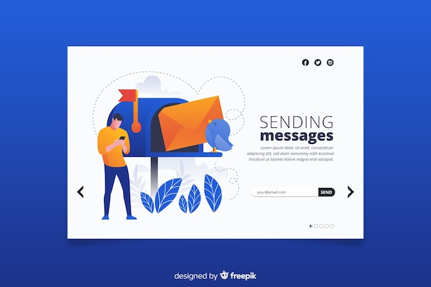 Landing page avec concept de boîte aux lettres