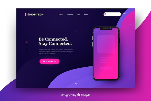 Landing page avec concept de téléphone pour le modèle
