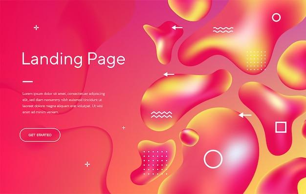 Landing page avec dessin abstrait avec beau liquide