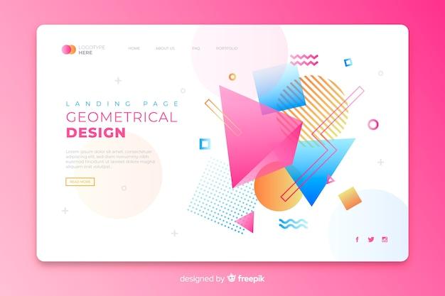 Landing page avec des éléments géométriques colorés