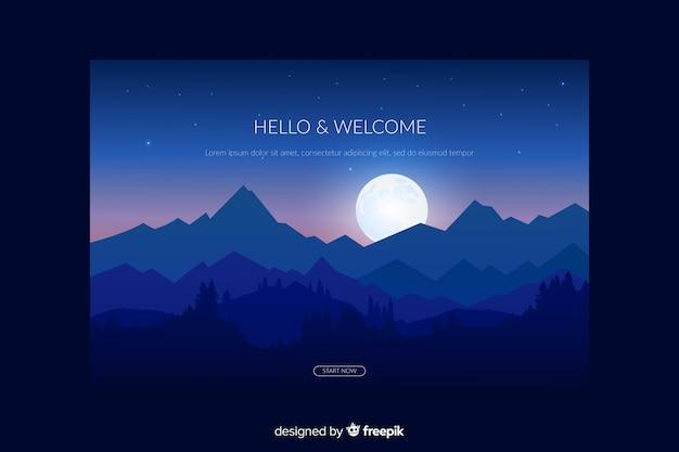 Landing page avec forêt de dégradé bleu