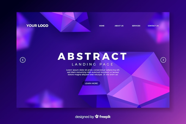 Landing page avec des formes abstraites