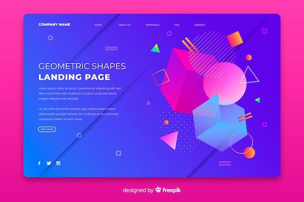 Landing page avec des formes géométriques colorées