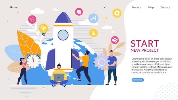 Landing page avec idée de démarrage d'entreprise