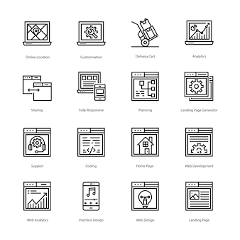 Landing page line vector icons