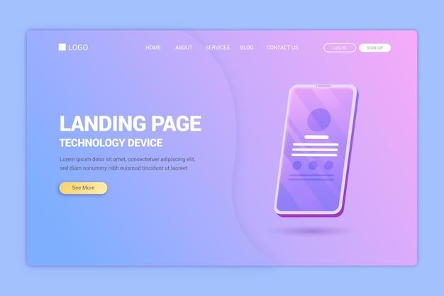 Landing page avec modèle de smartphone