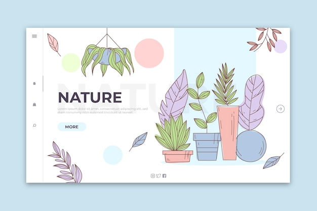 Landing page nature dessinée à la main