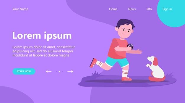 Landing page, petit garçon jouant avec un chien. élève, chiot, illustration vectorielle plane balle. concept d'animaux et de l'enfance