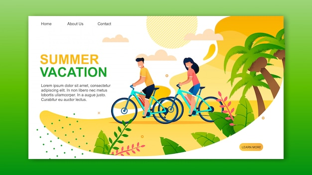 Landing page présentant des vacances d'été actives