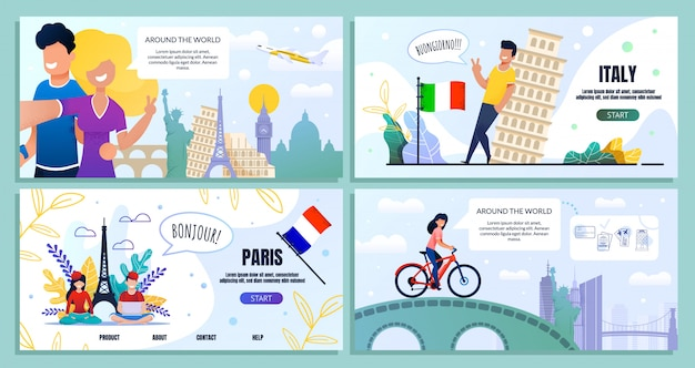 Landing page set bundle people travel blog