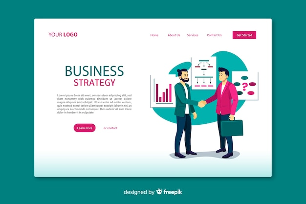 Landing page de stratégie commerciale avec design plat