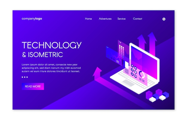 Landing page avec technologie isométrique