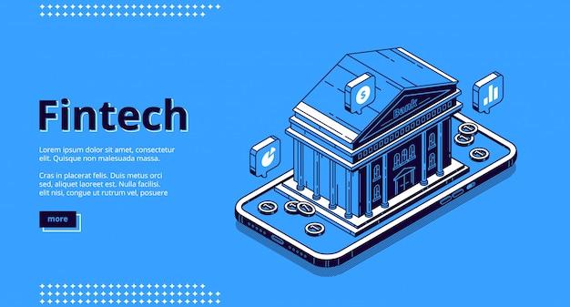 Landing page des technologies financières, fintech
