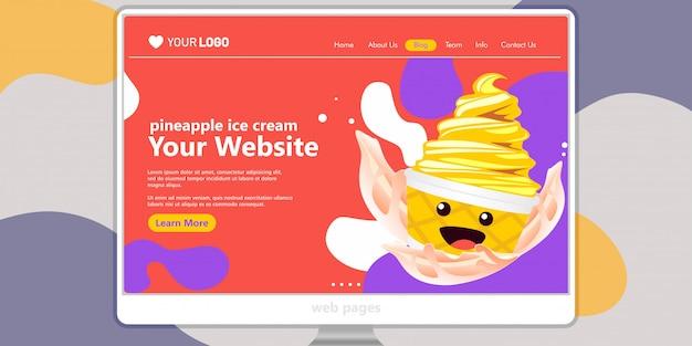 Landing page template background crème glacée