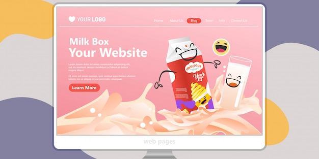 Landing page template background milk