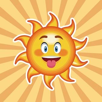 Langue du soleil de caractère avec fond rayé