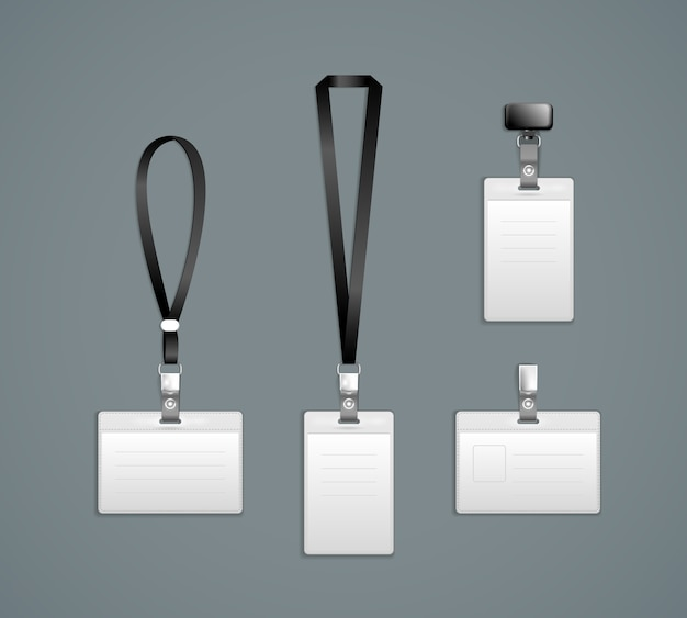Lanière, modèles d'insigne d'extrémité de rétracteur illustration vectorielle