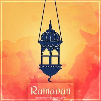 Lantern sur un fond d'aquarelle de ramadan