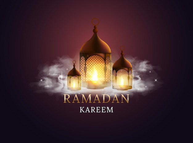 Lanterne arabe avec bougie allumée et nuages. kareem ramadan.