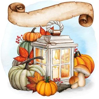 Lanterne d'automne dessinée à la main à l'aquarelle avec des feuilles de défilement et des citrouilles