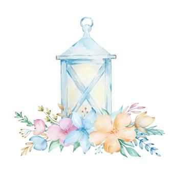 Lanterne bleue aquarelle. lanterne peinte à la main avec un bouquet de fleurs printanières délicates.