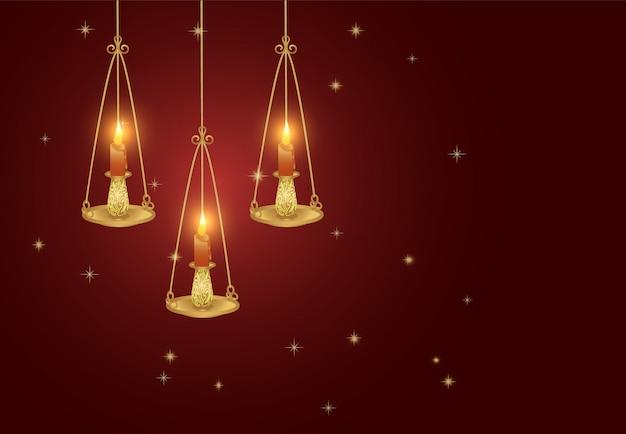 Lanterne avec bougie et étoile rougeoyante sur rouge