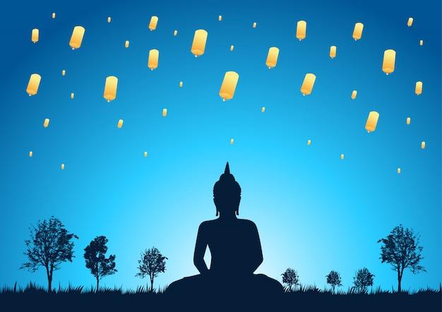 Lanterne céleste dans l'illustration du ciel nocturne