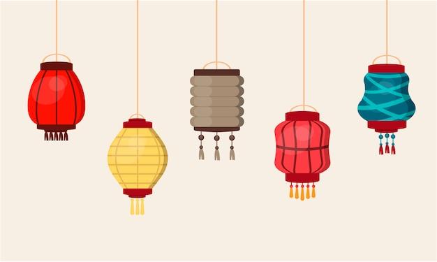 Lanterne chinoise culture traditionnelle de la chine fête festival asie décoration orientale illustration