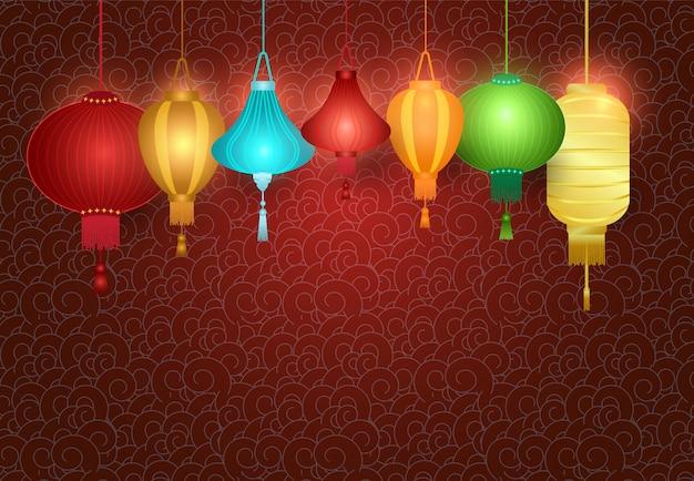 Lanterne chinoise suspendue sur fond