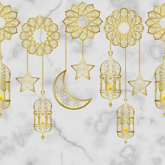 Lanterne dorée arabe et bordure transparente d'étoiles de demi-lune dorées sur fond de marbre blanc