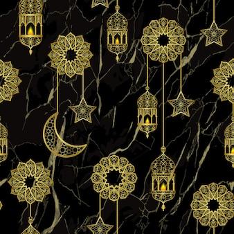 Lanterne dorée arabe et modèle sans couture d'étoiles de demi-lune dorées sur fond de marbre noir