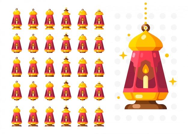 Lanterne du ramadan isolée. lampe de décoration de style arabe