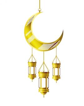 Lanterne du ramadan kareem et pendaison de lune