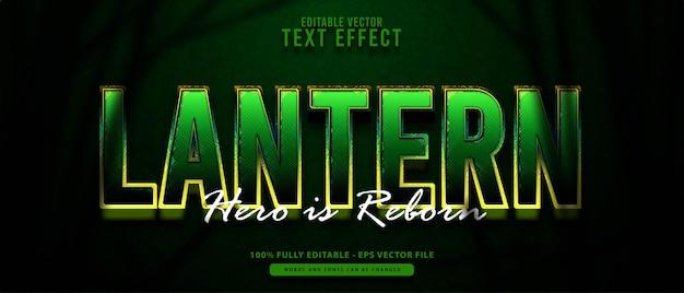 Lanterne, effet de texte modifiable de super-héros moderne brillant vert