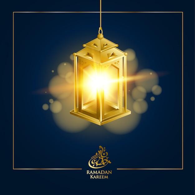 Lanterne fanous or pour fond de ramadan kareem avec texte de calligraphie arabe et croissant de lune.