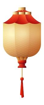 Lanterne japonaise. papier rouge suspendu lampe chinatown isolé sur fond blanc
