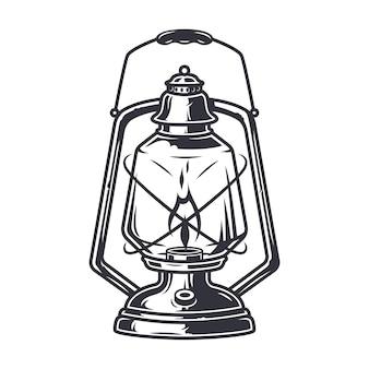 Lanterne de lampe de camping rétro au kérosène monochrome