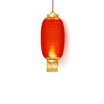 Lanterne ou lampe ovale en papier chinois rouge pour décoration ou fête.